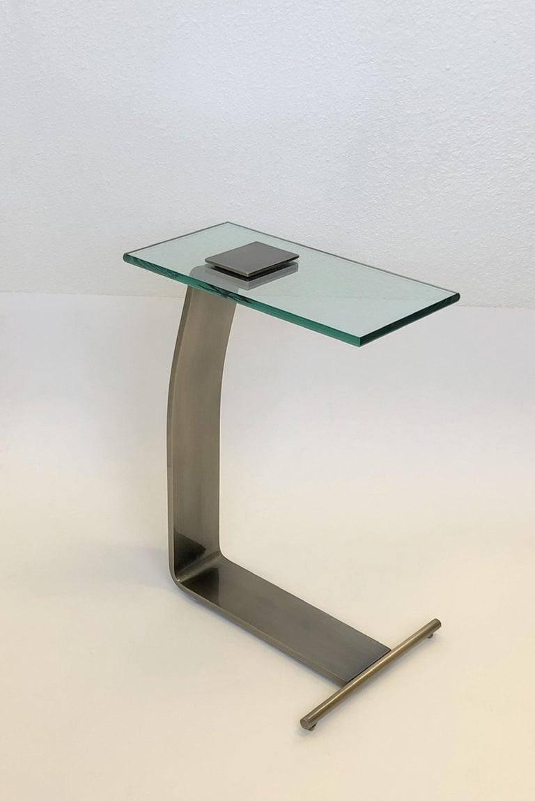 Stainless Steal and Glass Occasional Table by Design Institute of America In Excellent Condition For Sale In Palm Springs, CA