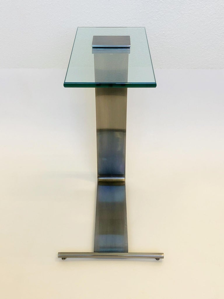 Stainless Steel Stainless Steal and Glass Occasional Table by Design Institute of America For Sale