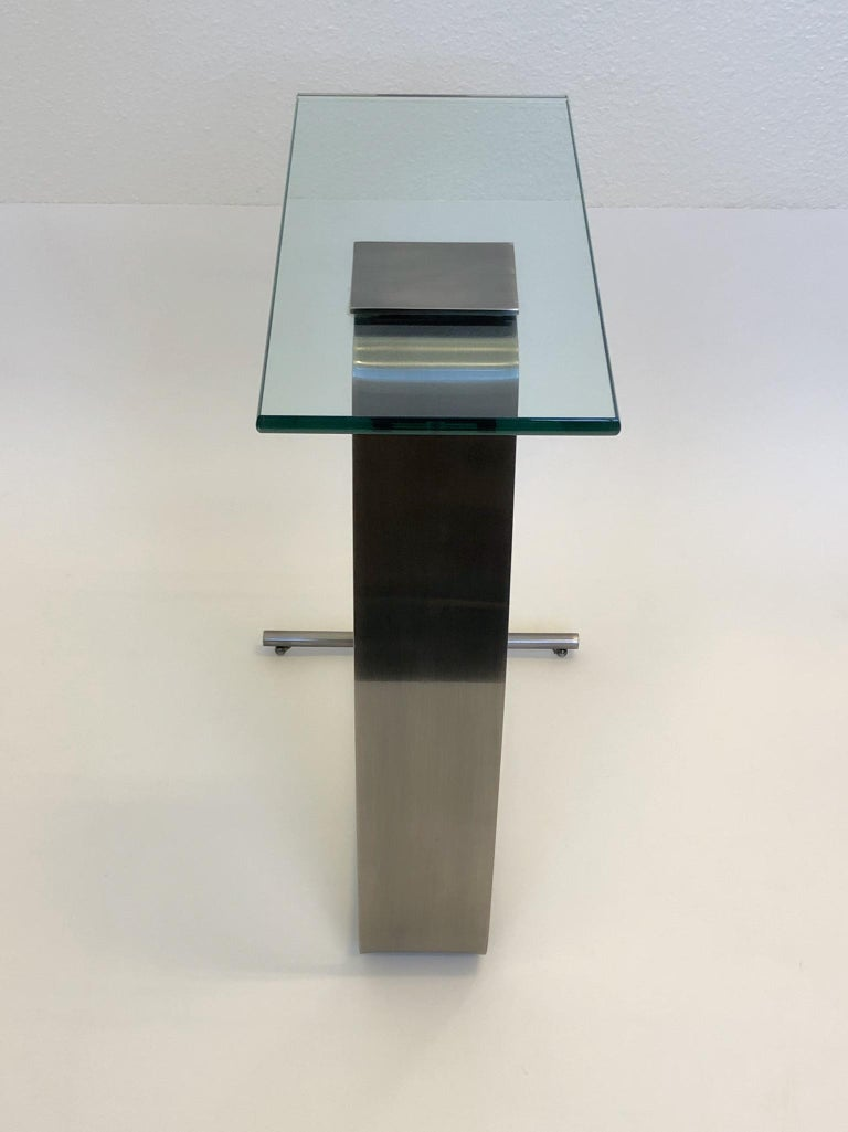 Stainless Steal and Glass Occasional Table by Design Institute of America For Sale 1