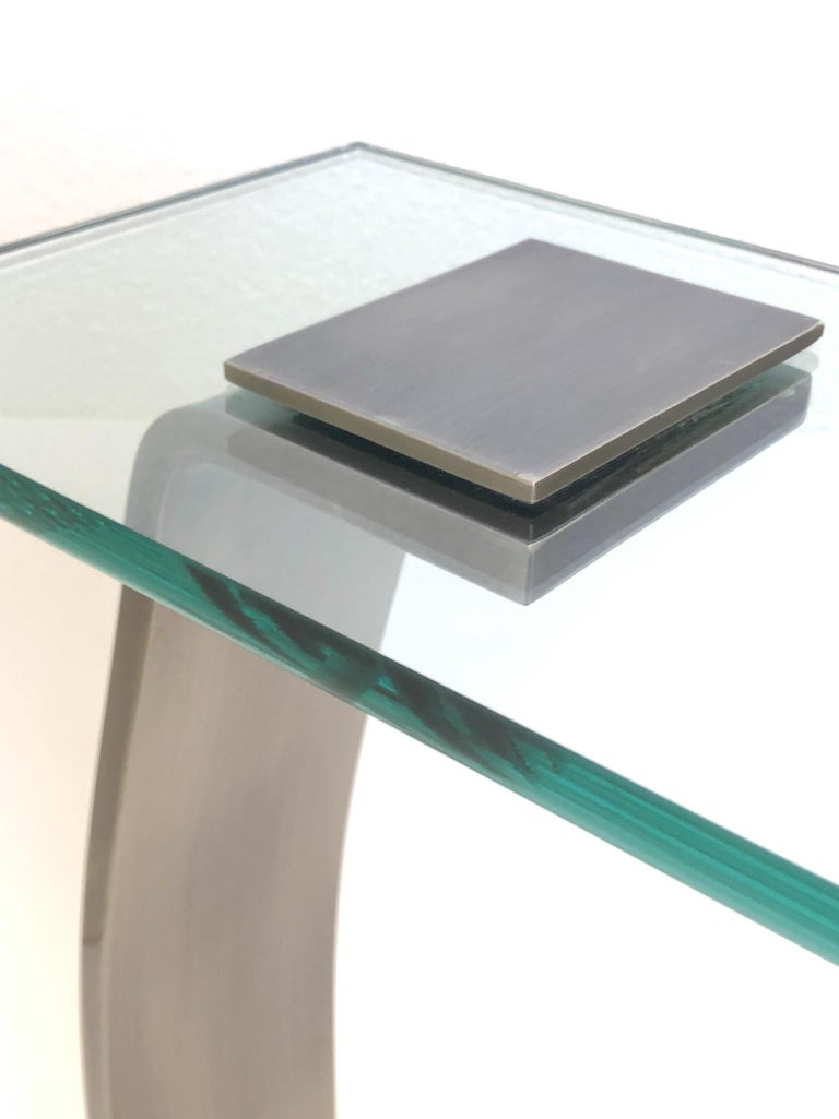 Stainless Steal and Glass Occasional Table by Design Institute of America For Sale 2