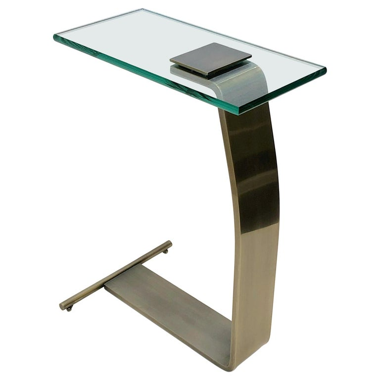 Stainless Steal and Glass Occasional Table by Design Institute of America For Sale