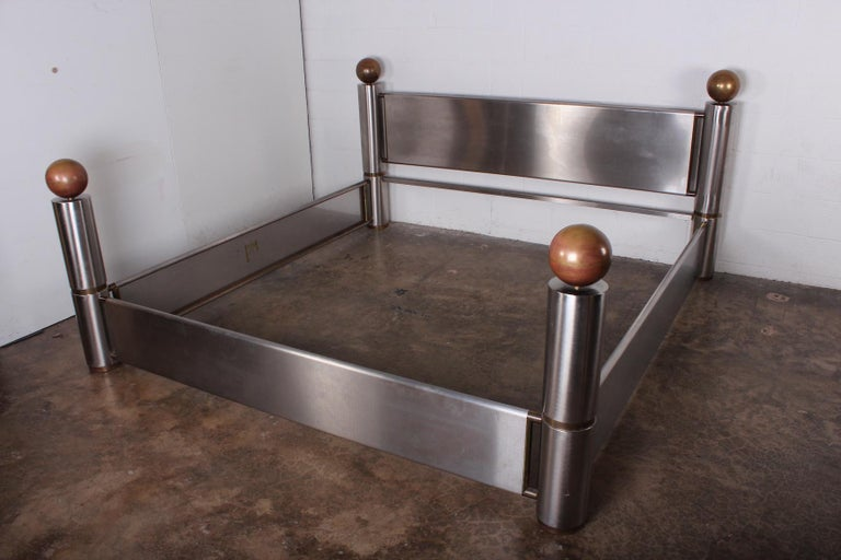 Stainless Steel and Brass Bed For Sale 4