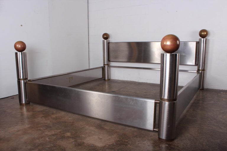 Stainless Steel and Brass Bed For Sale 5