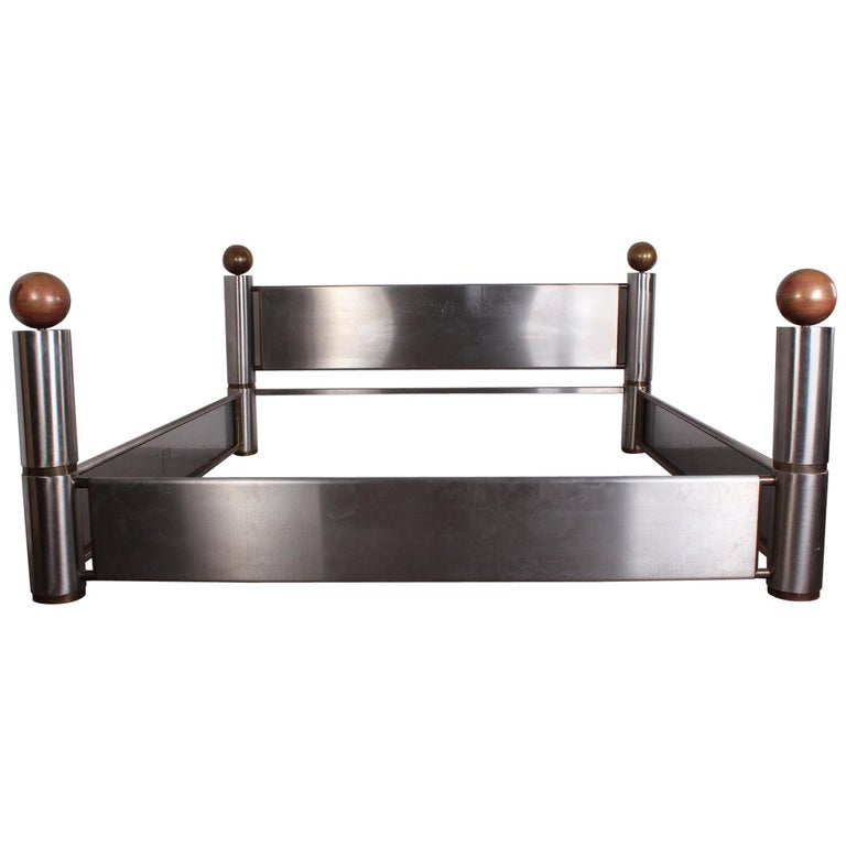 Stainless Steel and Brass Bed For Sale