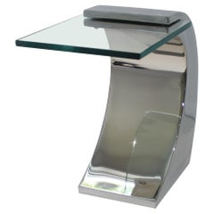 Stainless Steel and Glass Drinks Table