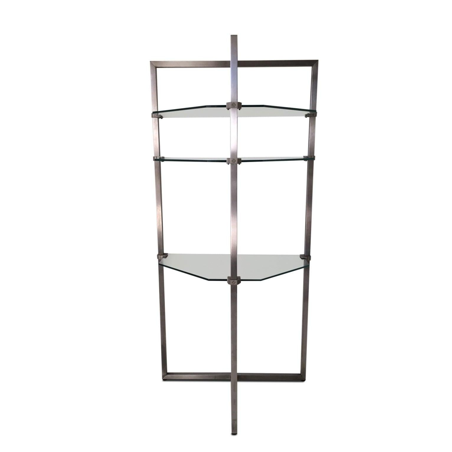 Stainless Steel and Glass Wall Shelf, Bookcase by Peter Ghyzy.  FINAL SALE