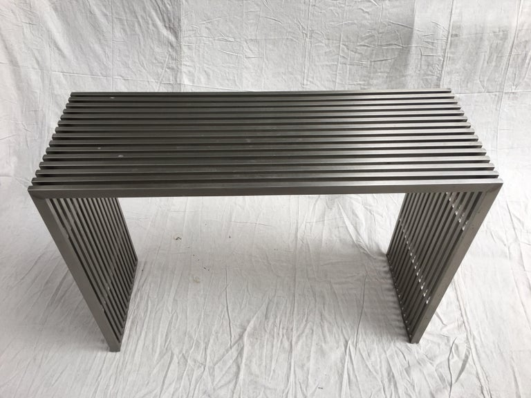 Stainless Steel and Lucite Slat Console For Sale 4