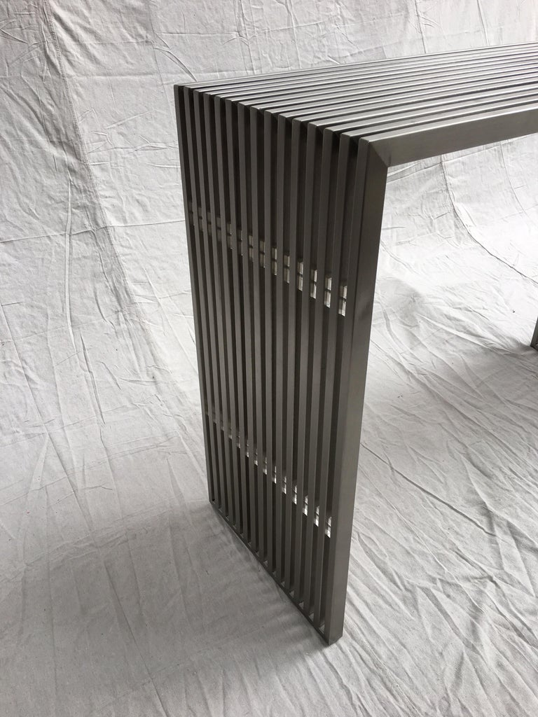 Modern Stainless Steel and Lucite Slat Console For Sale