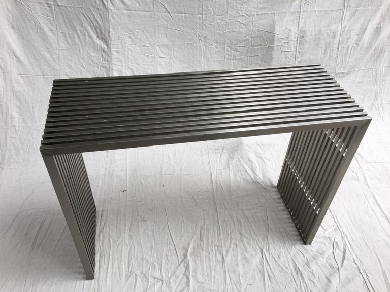 Contemporary Stainless Steel and Lucite Slat Console For Sale