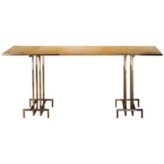 Stainless Steel and Parchment Console designed by Juan Montoya