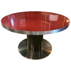 Stainless Steel and Red Top Round Dining Table by Willy Rizzo, Italy, 1970s