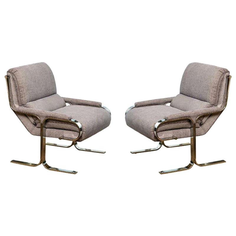 Stainless Steel and Upholstered Lounge Chairs Attributed to Milo Baughman