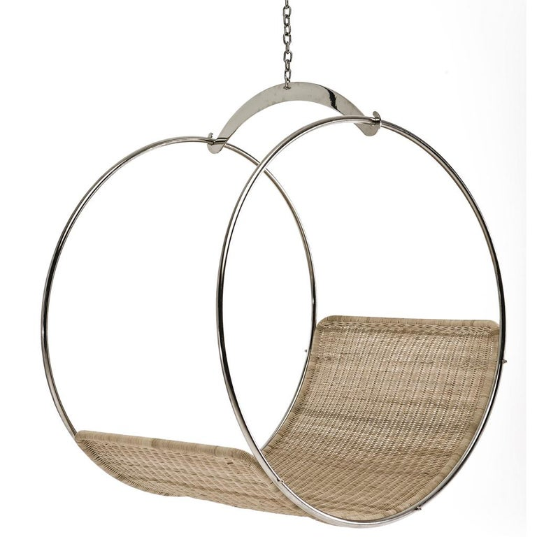 Modern Stainless Steel and Wicker Contemporary Adult Swing Chair by Egg Designs
