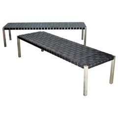 Stainless Steel and Woven Leather Benches by Ralph Lauren