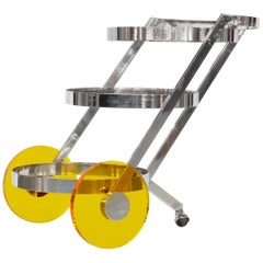 Stainless Steel Bar Cart with Color Lucite Wheels, 1970s