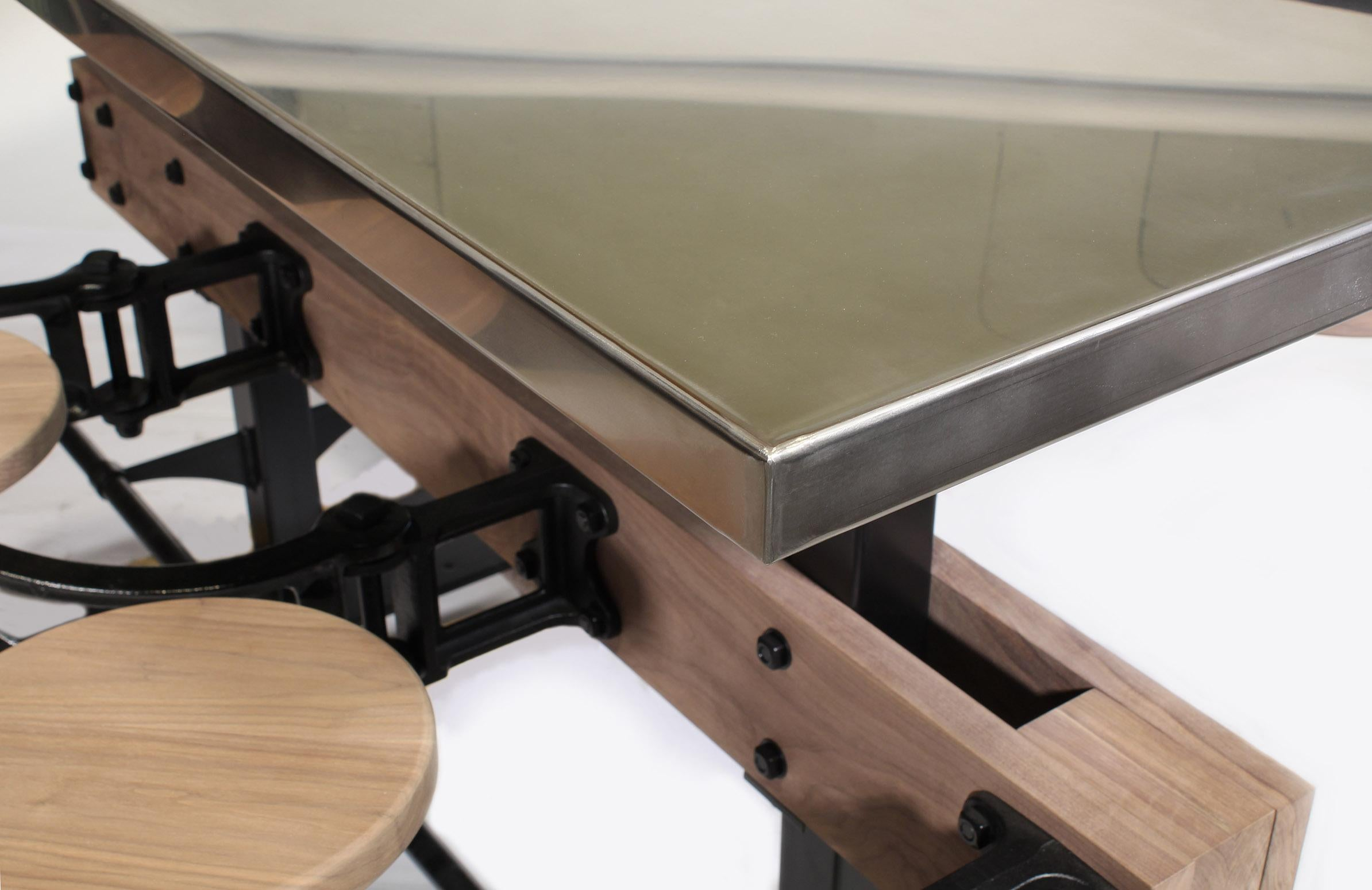 Merveilleux Stainless Steel Bar Height 12u0027 Long Half Table With 6 Attached Seats