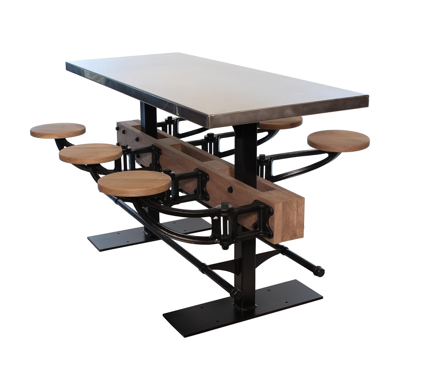 Charmant Stainless Steel Bar Height Dining Table With Attached Seats
