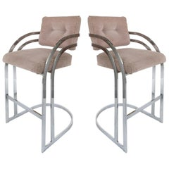 Stainless Steel Bar Stools for DIA 'Design Institute America', Pair