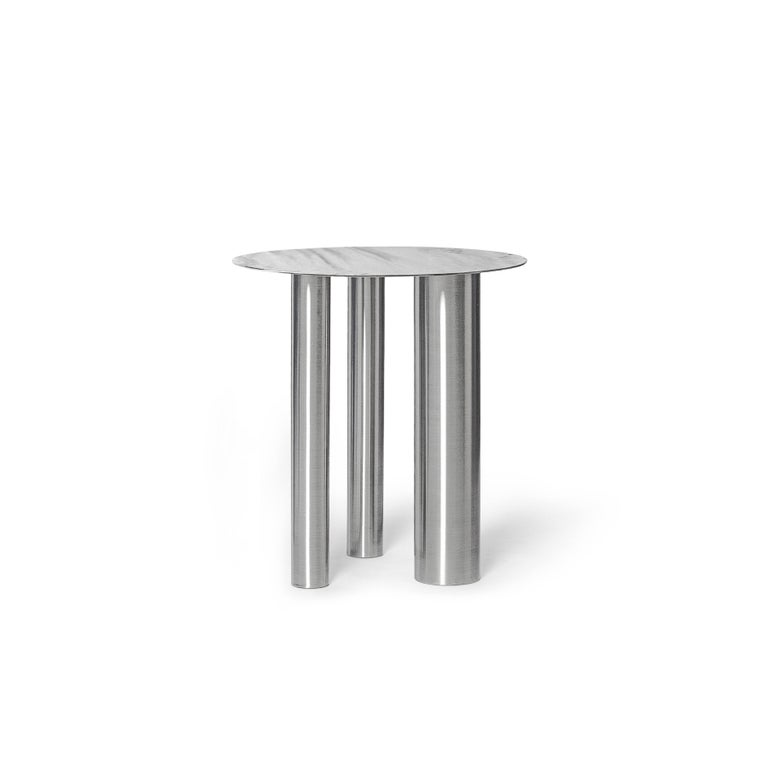 Modern Stainless Steel Brandt High Coffee Table by Noom For Sale