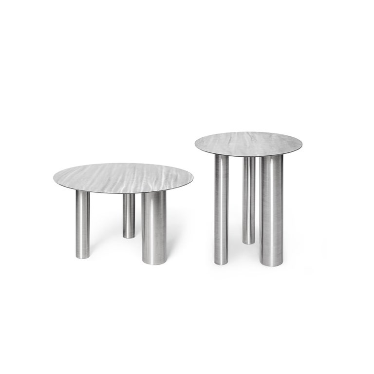 Contemporary Stainless Steel Brandt High Coffee Table by Noom For Sale