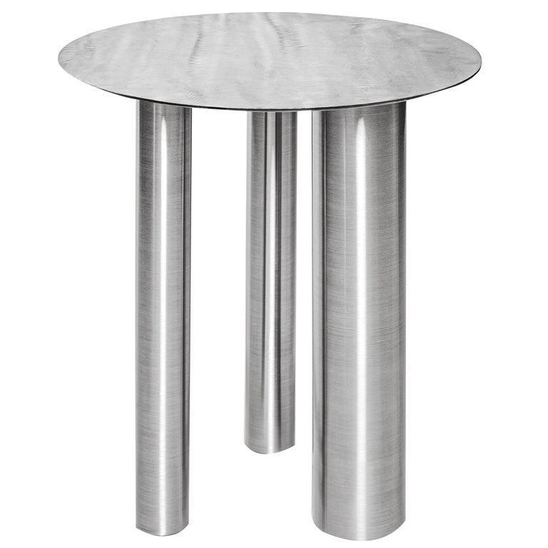 Stainless Steel Brandt High Coffee Table by Noom For Sale