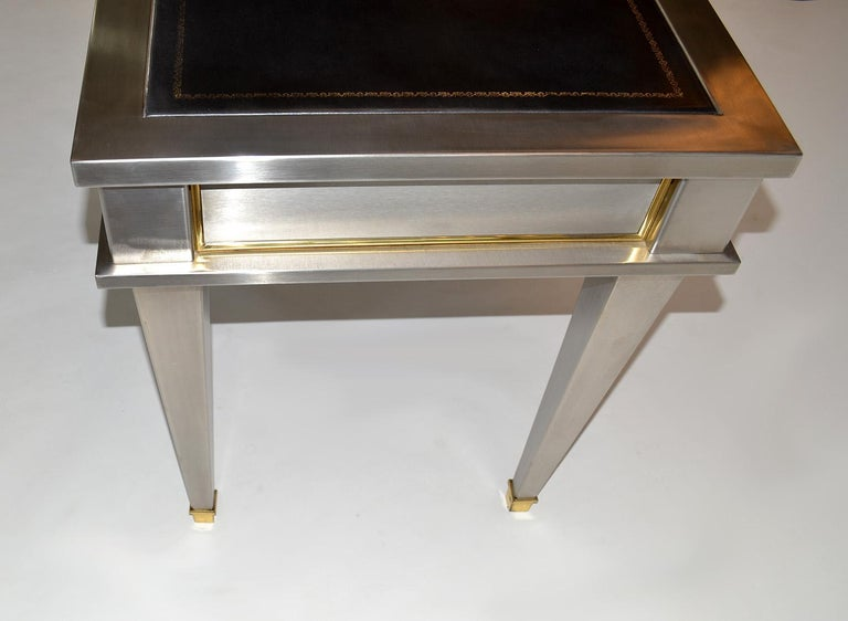 Stainless Steel Bronze Neoclassical Revival Writing Desk Table 20th Century In Good Condition For Sale In Ft Lauderdale, FL