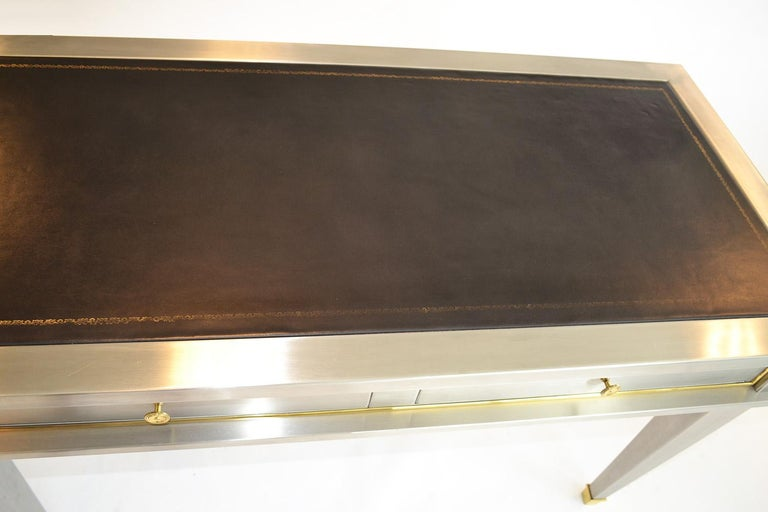 Stainless Steel Bronze Neoclassical Revival Writing Desk Table 20th Century For Sale 1