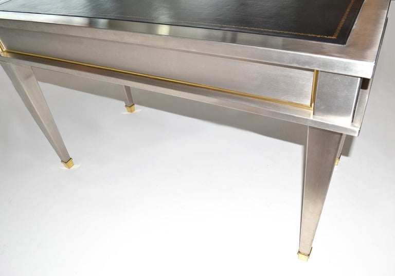 Stainless Steel Bronze Neoclassical Revival Writing Desk Table 20th Century For Sale 3