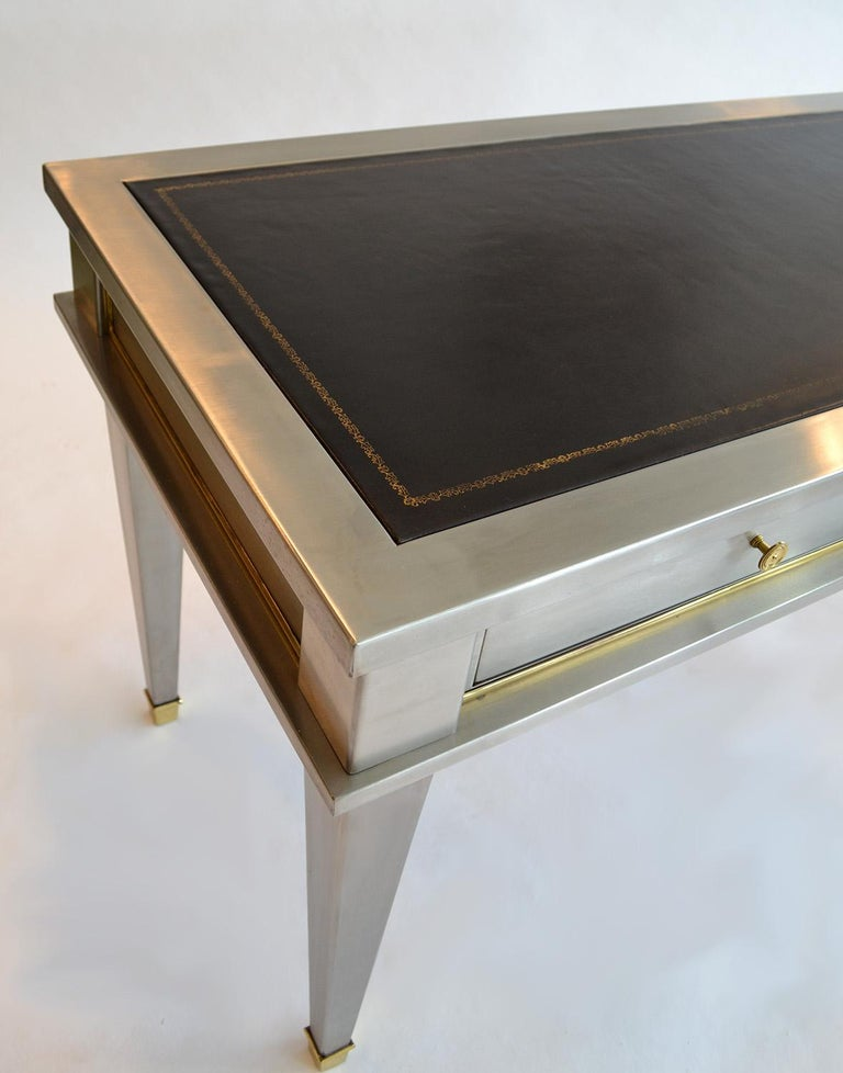 Stainless Steel Bronze Neoclassical Revival Writing Desk Table 20th Century For Sale 5