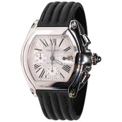 Stainless Steel Cartier Roadster XXL Chronograph Automatic Men's Wristwatch