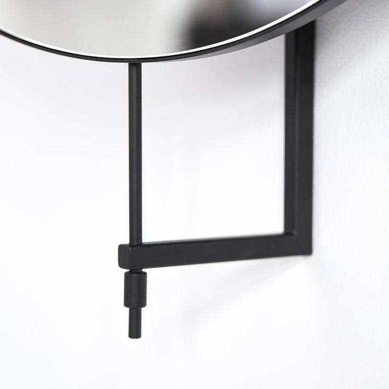 Danish Stainless Steel Circle Rotating Mirror by Kristina Dam Studio For Sale