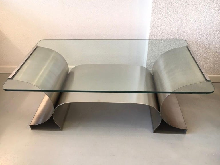 Stainless Steel Coffee Table by François Monnet produced by Kappa, France 1970's In Good Condition For Sale In Geneva, CH