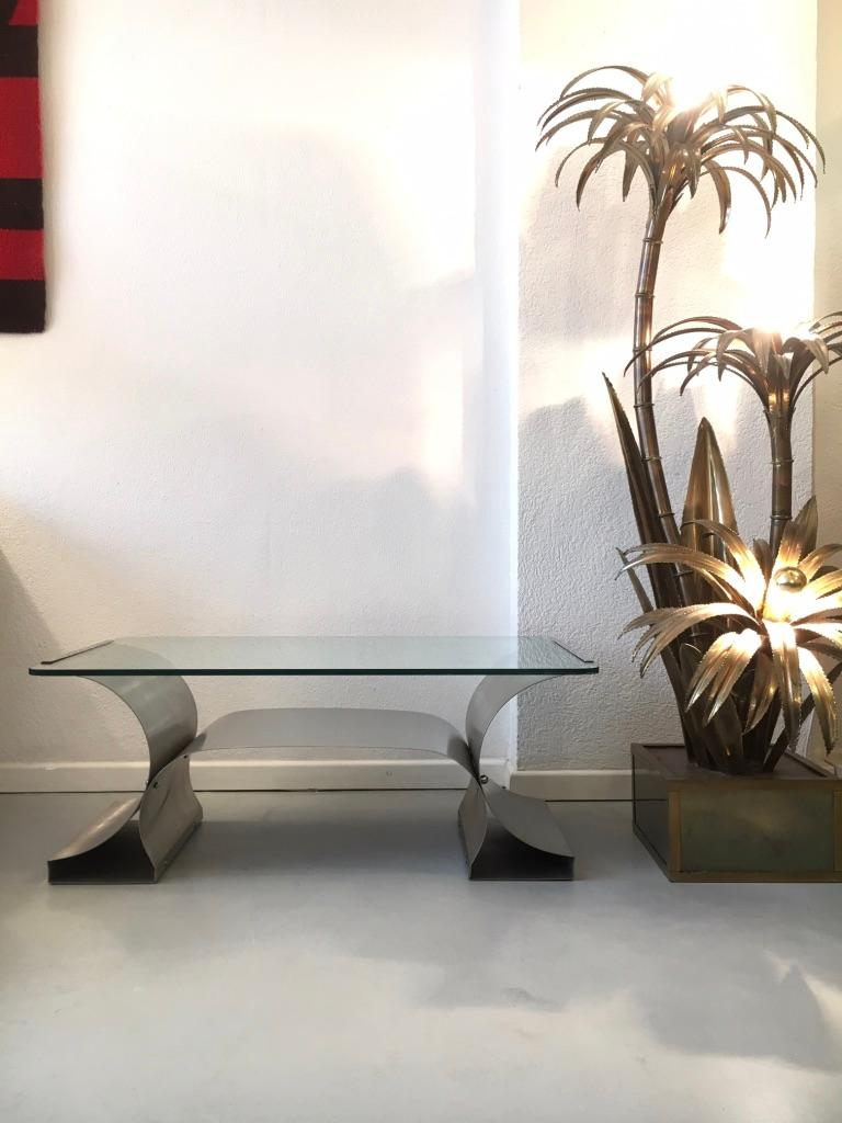 Stainless Steel Coffee Table by François Monnet produced by Kappa, France 1970's For Sale 2