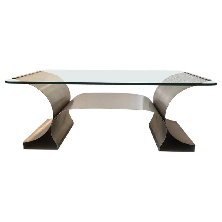 Stainless Steel Coffee Table by François Monnet produced by Kappa, France 1970's For Sale