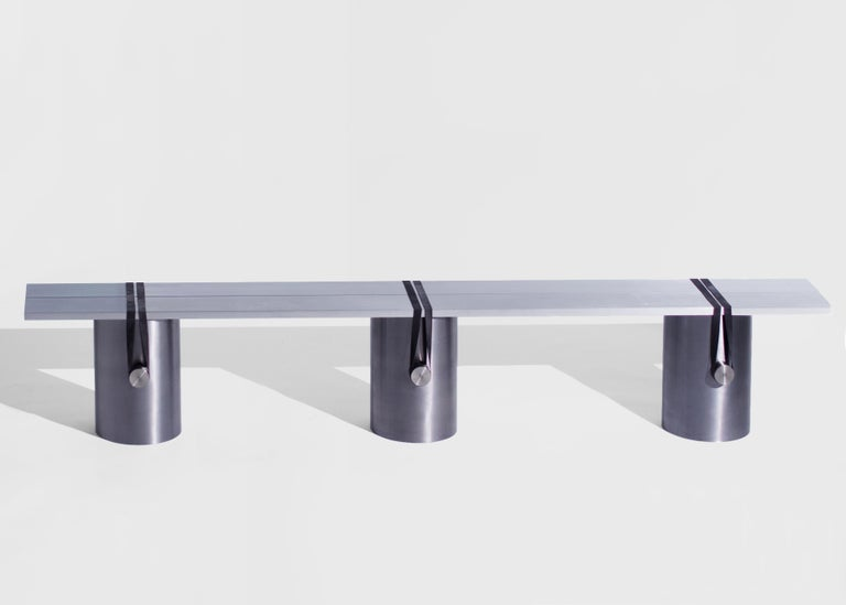 Stainless steel contemporary bench by Johan Viladrich Bench Aluminum, steel, stainless steel and rubber Measures: L 200, W 24, H 38 cm Apprx. 60kg Limited edition of 8 + 2AP  Johan Viladrich is an internationally famous contemporary