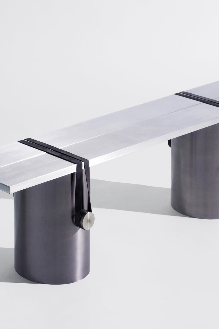 Modern Stainless Steel Contemporary Bench by Johan Viladrich For Sale