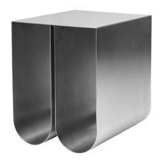 Stainless Steel Curved Side Table by Kristina Dam Studio