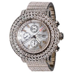 Stainless Steel Custom 33 Ct Diamond Breitling Chronometer Automatic Dial Watch