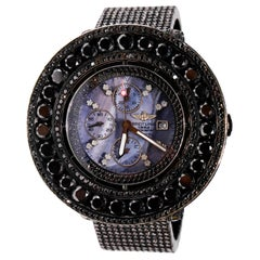 Stainless Steel Custom 90 Carat Black Diamond Dial Breitling Automatic Watch
