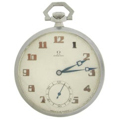 Stainless Steel Deco Open Face Omega Pocket Watch