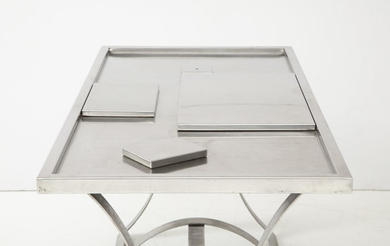 Stainless Steel Desk, France, 1970s For Sale 6