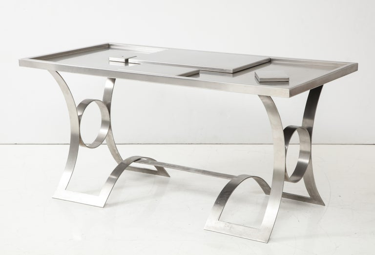 French Stainless Steel Desk, France, 1970s For Sale