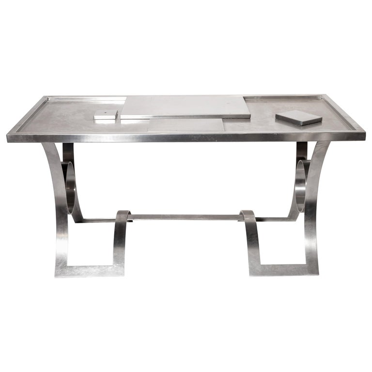 Stainless Steel Desk, France, 1970s For Sale
