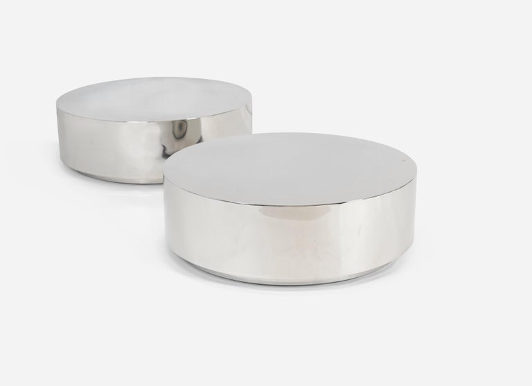 Stainless Steel Drum Coffee Tables By Milo Baughman