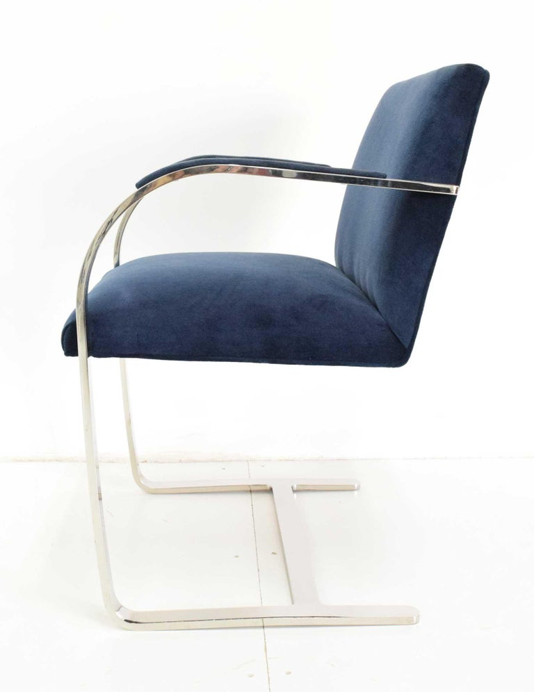 American Stainless Steel Flatbar Brno Chairs by Knoll in Blue Velvet For Sale