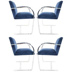 Stainless Steel Flatbar Brno Chairs by Knoll in Blue Velvet