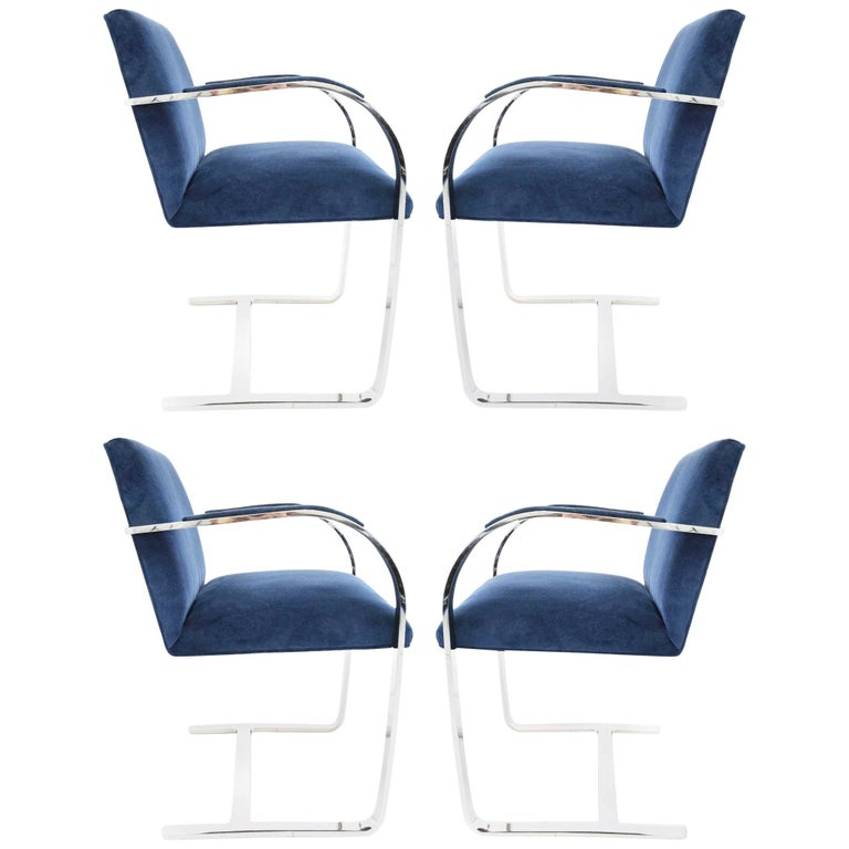Stainless Steel Flatbar Brno Chairs by Knoll in Blue Velvet For Sale