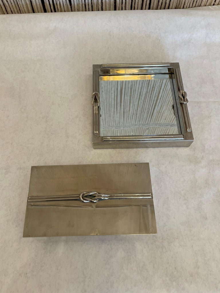 A French Stainless Steel Looped Rope Design Jewelry Box and Tray For Sale 4