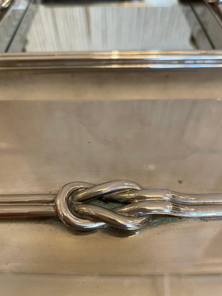 Post-Modern A French Stainless Steel Looped Rope Design Jewelry Box and Tray For Sale