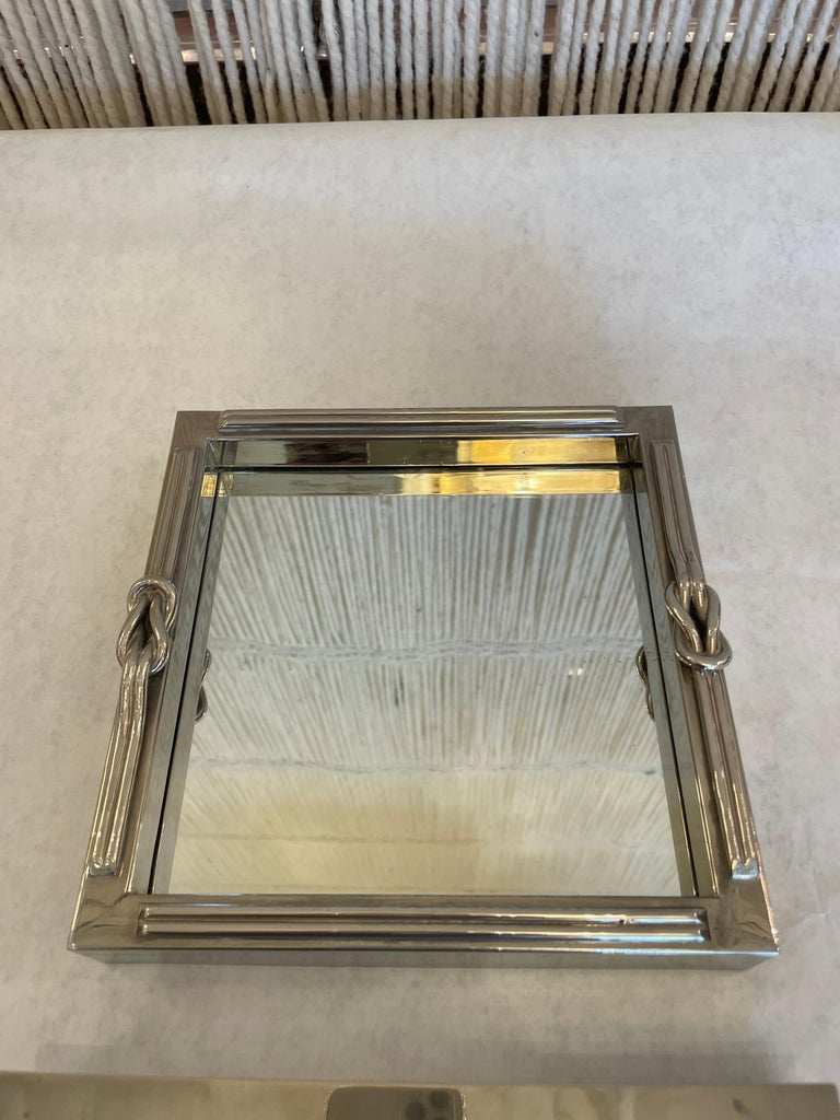 A French Stainless Steel Looped Rope Design Jewelry Box and Tray In Good Condition For Sale In East Hampton, NY